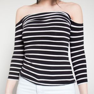 Garage Black and White Striped Off Shoulder Top